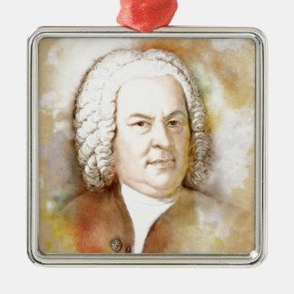 Johann Sebastian Bach portrait in beige Silver-Colored Square Ornament