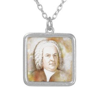 Johann Sebastian Bach portrait in beige Silver Plated Necklace
