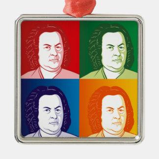 Johann Sebastian Bach portrait in four colors Silver-Colored Square Ornament