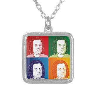 Johann Sebastian Bach portrait in four colors Silver Plated Necklace