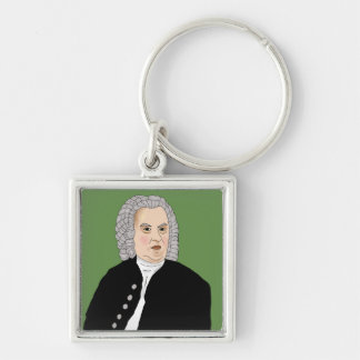 Johann Sebastian Bach Silver-Colored Square Keychain