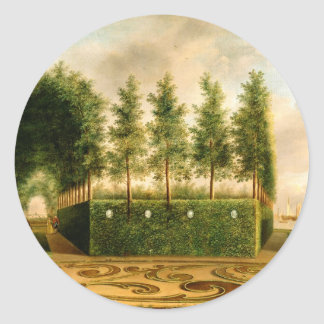 Johannes Janson A Formal Garden 18th Century Art Classic Round Sticker