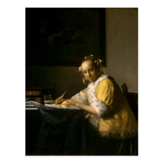 Johannes Vermeer, A Lady Writing a Letter Postcard
