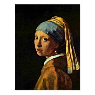 Johannes Vermeer art - Girl with a Pearl Earring Postcard