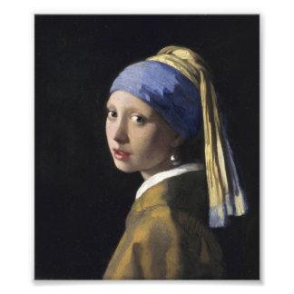 Johannes Vermeer - fille avec une boucle d'oreille Photos D'art