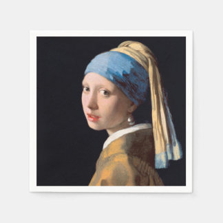 JOHANNES VERMEER - Girl with a pearl earring 1665 Disposable Napkins