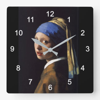 "Johannes Vermeer, ""Girl with a Pearl Earring"" Square Wall Clock"