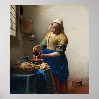 JOHANNES VERMEER - The milkmaid 1658 Poster