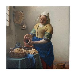 JOHANNES VERMEER - The milkmaid 1658 Tile