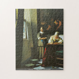 Johannes Vermeer - Woman with messenger Jigsaw Puzzle