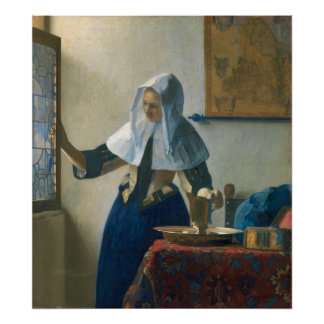 Johannes Vermeer Young Woman with a Water Pitcher Poster