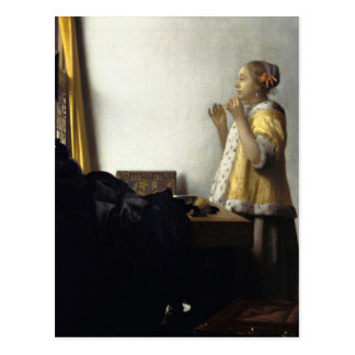 Johannes Vermeer, Young Woman With Pearl Necklace Postcard