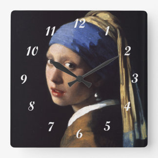 Johannes Vermeer's Girl with a Pearl Earring Square Wall Clock