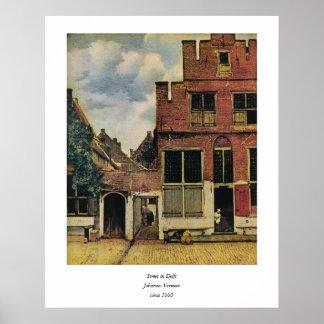 Johannes Vermeer's Street in Delft (circa 1660) Poster