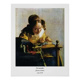 Johannes Vermeer's The Lacemaker (circa 1670) Poster