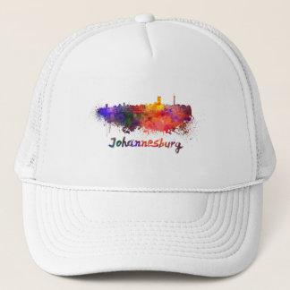Johannesburg skyline in watercolor trucker hat