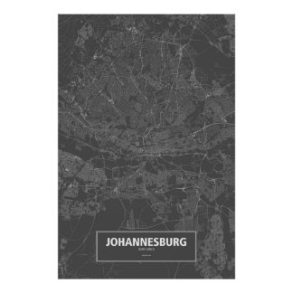 Johannesburg, South Africa (white on black) Poster