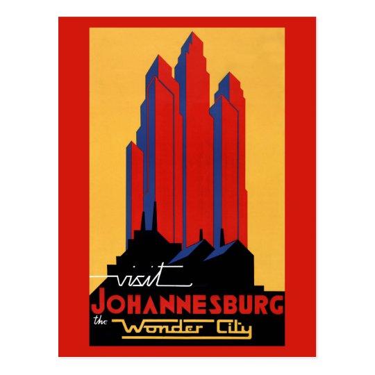 Johannesburg Vintage Travel Poster Restored Postcard