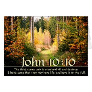 John 10 10 Bible Verse, Fall Forest Path. Card