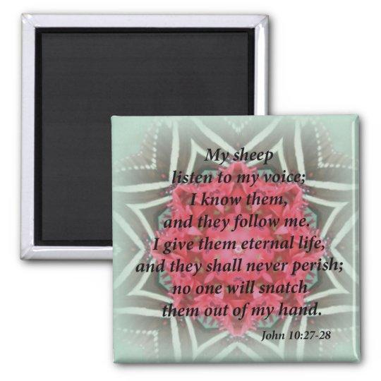 John 10:27-28 square magnet
