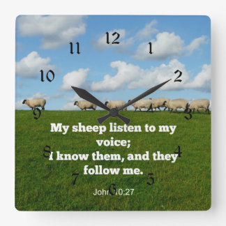 John 10:27 My sheep Square Wall Clock