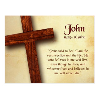 John 11 25-26 Bible Quote Postcard