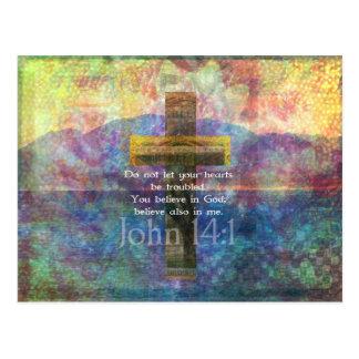 John 14:1 Inspirational Biblical verse Postcard