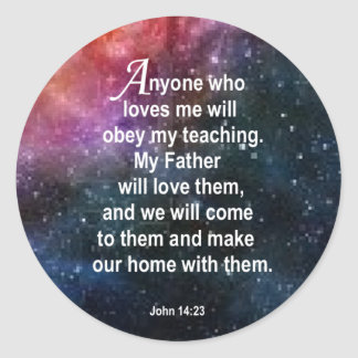 John 14:23 classic round sticker