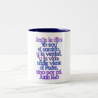 John 14:6 Spanish Two-Tone Coffee Mug
