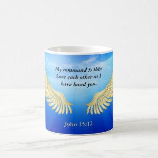 John 15:12 classic white coffee mug