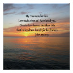 JOHN 15:12 SUNRISE OVER THE OCEAN POSTER