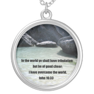 John 16:33 silver plated necklace