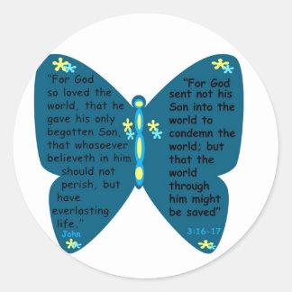 John 3: 16- 17 butterfly blue stickers