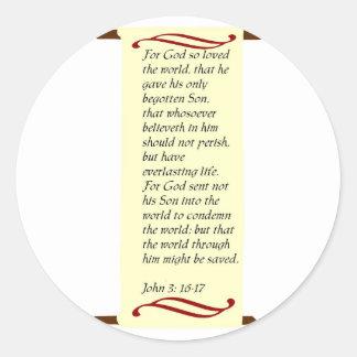 John 3:16- 17stickers classic round sticker