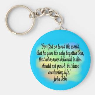 John 3:16 basic round button keychain