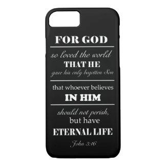 John 3:16 Bible Verse iPhone 7 case black white