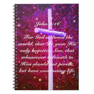 John 3:16 Christian Cross Firefly Notebook