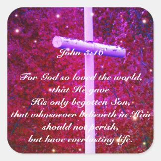 John 3:16 Christian Cross Firefly Sticker