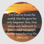 John 3:16 Christian Inspirational Quote Round Stickers