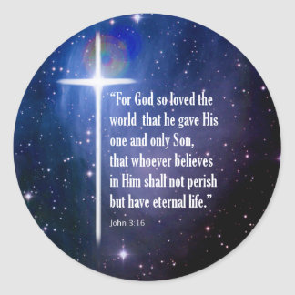 John 3:16 classic round sticker