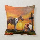 John 3:16 Cowboy at the Cross Praying Christian Throw Pillow