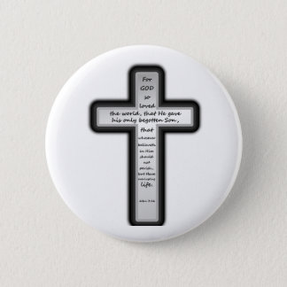 John 3:16 Cross Only 2 Inch Round Button