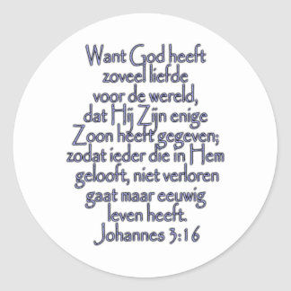 John 3:16 Dutch Classic Round Sticker