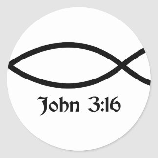 John 3:16 Fish Classic Round Sticker