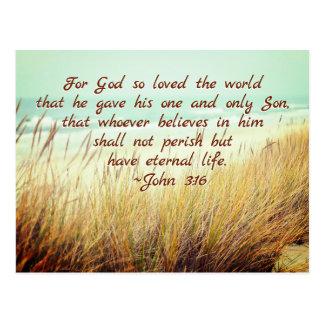 John 3:16 For God so loved the world, Bible Verse Postcard