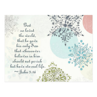 John 3:16 God so Loved the World, Christmas Postcard
