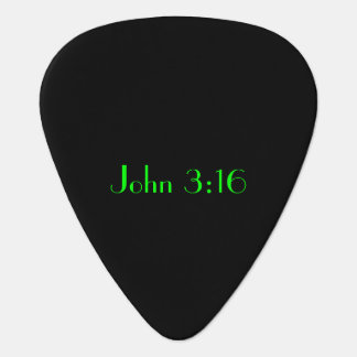 John 3:16, Green Text on Black Background Guitar Pick