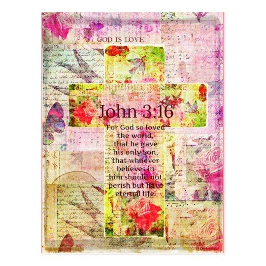 John 3:16  Inspirational Bible verse words art Postcard