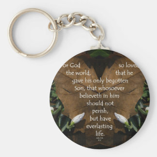 john 3:16 king james on heart leaf keychain
