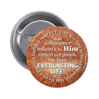 John 3:16 KJV Everlasting Life Bible Verse Quote 2 Inch Round Button